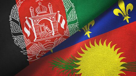 Afghanistan and Guadeloupe two folded flags together Zdjęcie Seryjne - 137465794