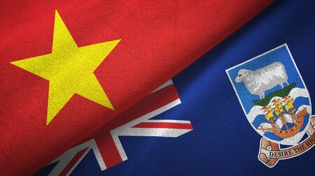 Vietnam and Falkland Islands two folded flags together Zdjęcie Seryjne - 137465800
