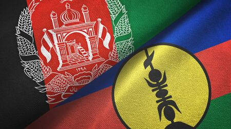 Afghanistan and New Caledonia two folded flags together Zdjęcie Seryjne - 137465802