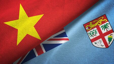 Vietnam and Fiji two folded flags together