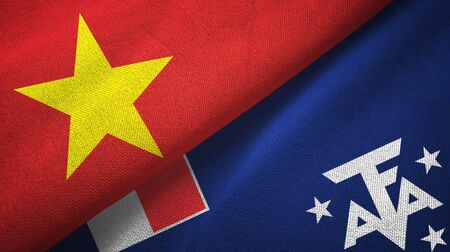 Vietnam and French Southern and Antarctic Lands two folded flags together