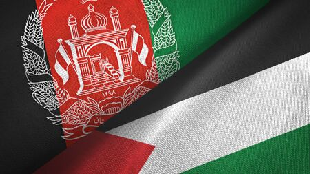 Afghanistan and Palestine two folded flags together
