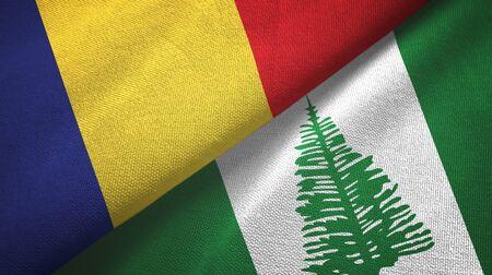 Romania and Norfolk Island two folded flags together Zdjęcie Seryjne - 137465646