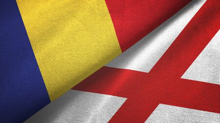 Romania and Northern Ireland two folded flags together Zdjęcie Seryjne - 137465648