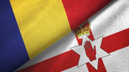 Romania and Northern Ireland two folded flags together Zdjęcie Seryjne