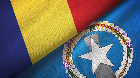 Romania and Northern Mariana Islands two folded flags together