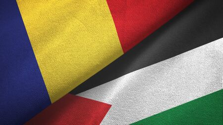 Romania and Palestine two folded flags together Zdjęcie Seryjne