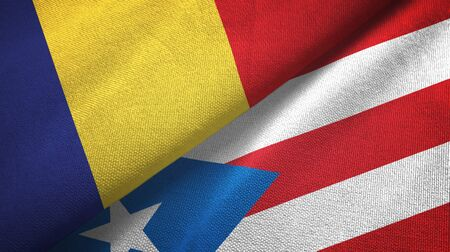 Romania and Puerto Rico two folded flags together Zdjęcie Seryjne