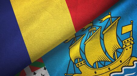 Romania and Saint Pierre and Miquelon two folded flags together Zdjęcie Seryjne - 137465658