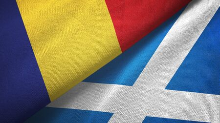 Romania and Scotland two folded flags together Banque d'images
