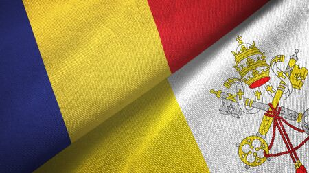 Romania and Vatican two folded flags together