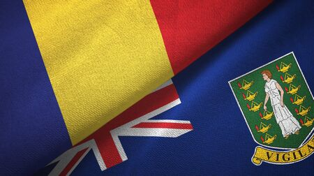 Romania and Virgin Islands British two folded flags together Zdjęcie Seryjne - 137465665