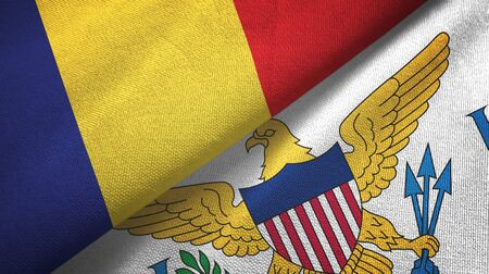 Romania and Virgin Islands United States two folded flags together Zdjęcie Seryjne - 137465666