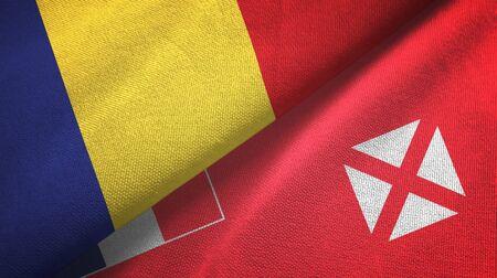 Romania and Wallis and Futuna two folded flags together Zdjęcie Seryjne