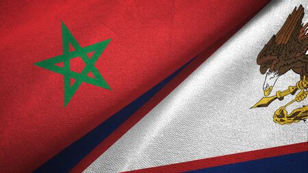 Morocco and American Samoa two folded flags together