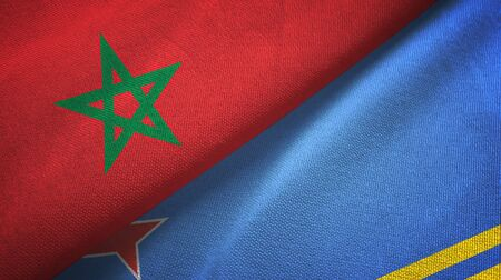 Morocco and Aruba two folded flags together