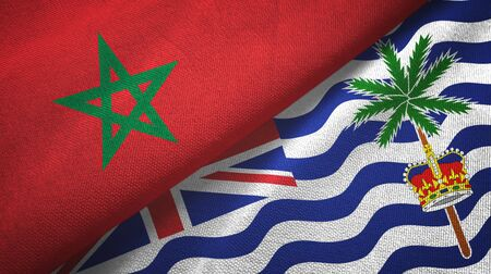 Morocco and British Indian Territory two folded flags together Zdjęcie Seryjne - 137465680