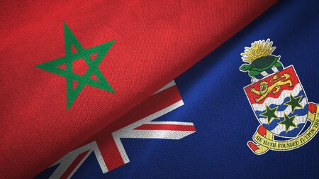 Morocco and Cayman Islands two folded flags together