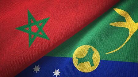 Morocco and Christmas Island two folded flags together Zdjęcie Seryjne - 137465683