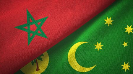 Morocco and Cocos Keeling Islands two folded flags together Zdjęcie Seryjne