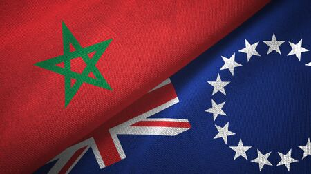 Morocco and Cook Islands two folded flags together Zdjęcie Seryjne - 137465687