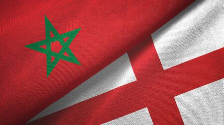 Morocco and England two folded flags together