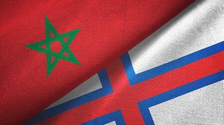 Morocco and Faroe Islands two folded flags together Zdjęcie Seryjne