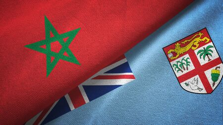 Morocco and Fiji two folded flags together