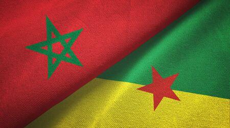 Morocco and French Guiana two folded flags together Zdjęcie Seryjne