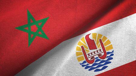 Morocco and French Polynesia two folded flags together Zdjęcie Seryjne - 137465696