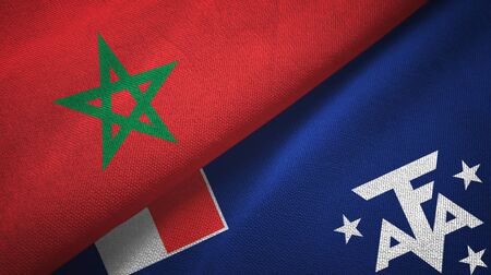 Morocco and French Southern and Antarctic Lands two folded flags together Zdjęcie Seryjne - 137465699