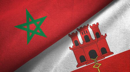 Morocco and Gibraltar two folded flags together