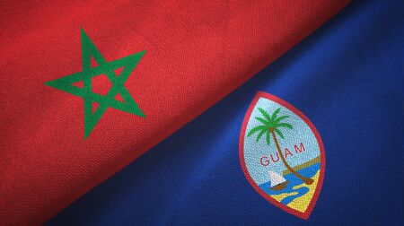 Morocco and Guam two folded flags together