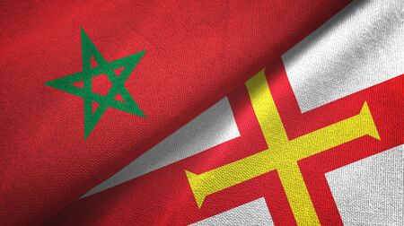 Morocco and Guernsey two folded flags together Zdjęcie Seryjne - 137465709
