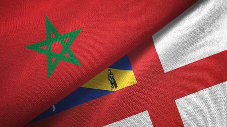 Morocco and Herm two folded flags together Zdjęcie Seryjne