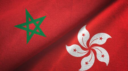 Morocco and Hong Kong two folded flags together