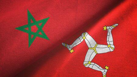 Morocco and Isle of Mann two folded flags together Zdjęcie Seryjne