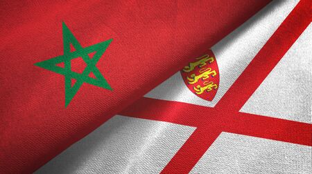 Morocco and Jersey two folded flags together