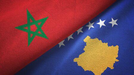 Morocco and Kosovo two folded flags together Zdjęcie Seryjne
