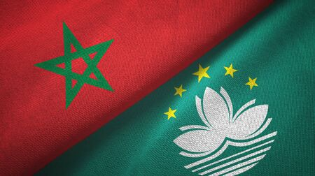 Morocco and Macau two folded flags together