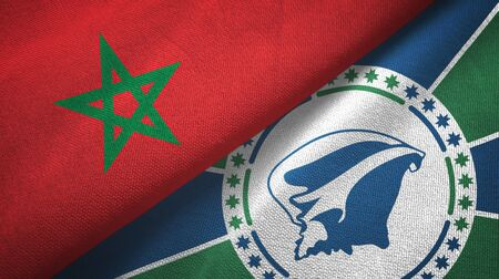 Morocco and Martinique two folded flags together