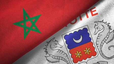 Morocco and Mayotte two folded flags together Zdjęcie Seryjne - 137465726