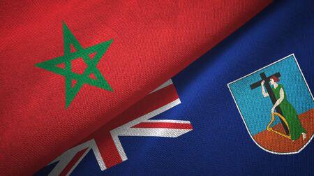 Morocco and Montserrat two folded flags together Zdjęcie Seryjne