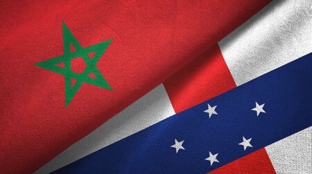 Morocco and Netherlands Antilles two folded flags together Zdjęcie Seryjne - 137465729