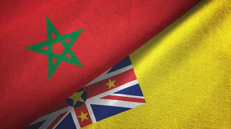 Morocco and Niue two folded flags together