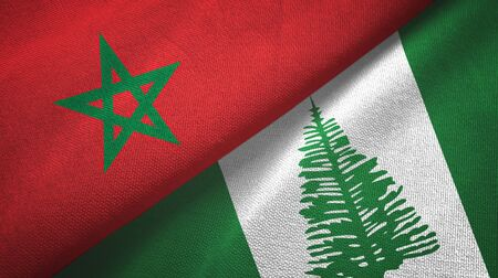 Morocco and Norfolk Island two folded flags together
