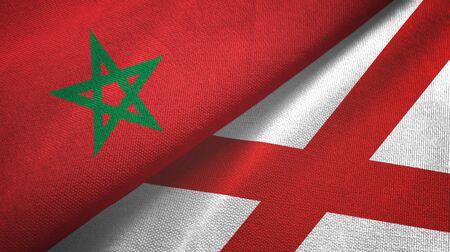 Morocco and Northern Ireland two folded flags together Zdjęcie Seryjne