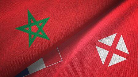 Morocco and Wallis and Futuna two folded flags together Zdjęcie Seryjne - 137465737