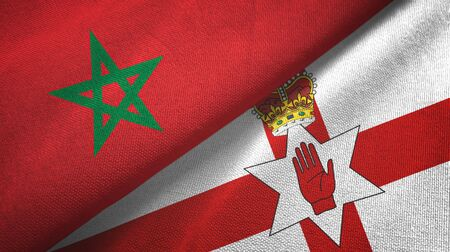 Morocco and Northern Ireland two folded flags together Zdjęcie Seryjne - 137465740