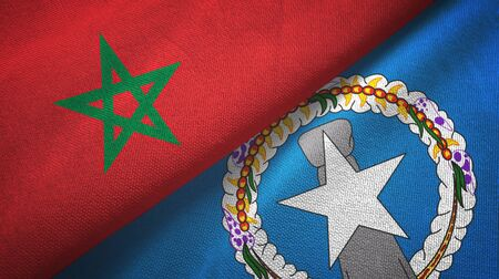 Morocco and Northern Mariana Islands two folded flags together Zdjęcie Seryjne - 137465742